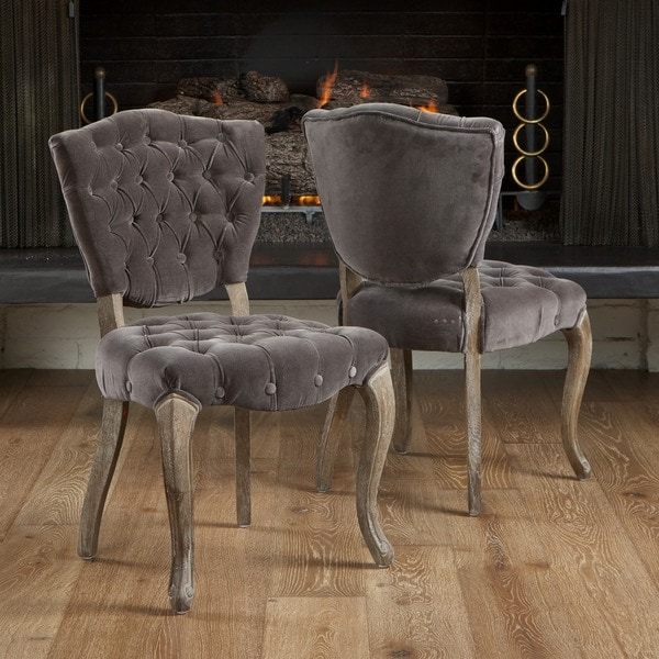 Christopher Knight Home Bates Tufted Grey Fabric Dining