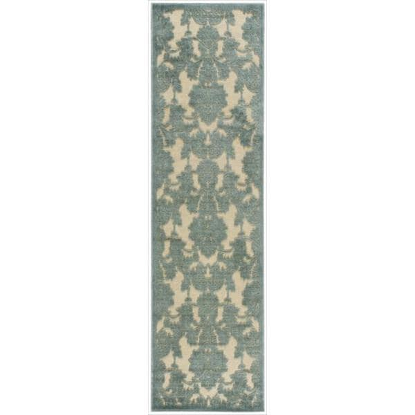 Graphic Illusions Damask Teal Rug Runner (2'3 X 8