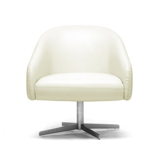 Swell Baxton Studio Balmorale Ivory Leather Modern Swivel Chair Creativecarmelina Interior Chair Design Creativecarmelinacom