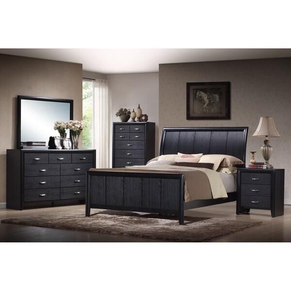 Modern Discount Bedroom Furniture: Kima Black Queen 5-piece Wooden Modern Bedroom Set