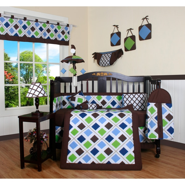 Blue Brown Diamond 13 Piece Crib Bedding Set 15043011
