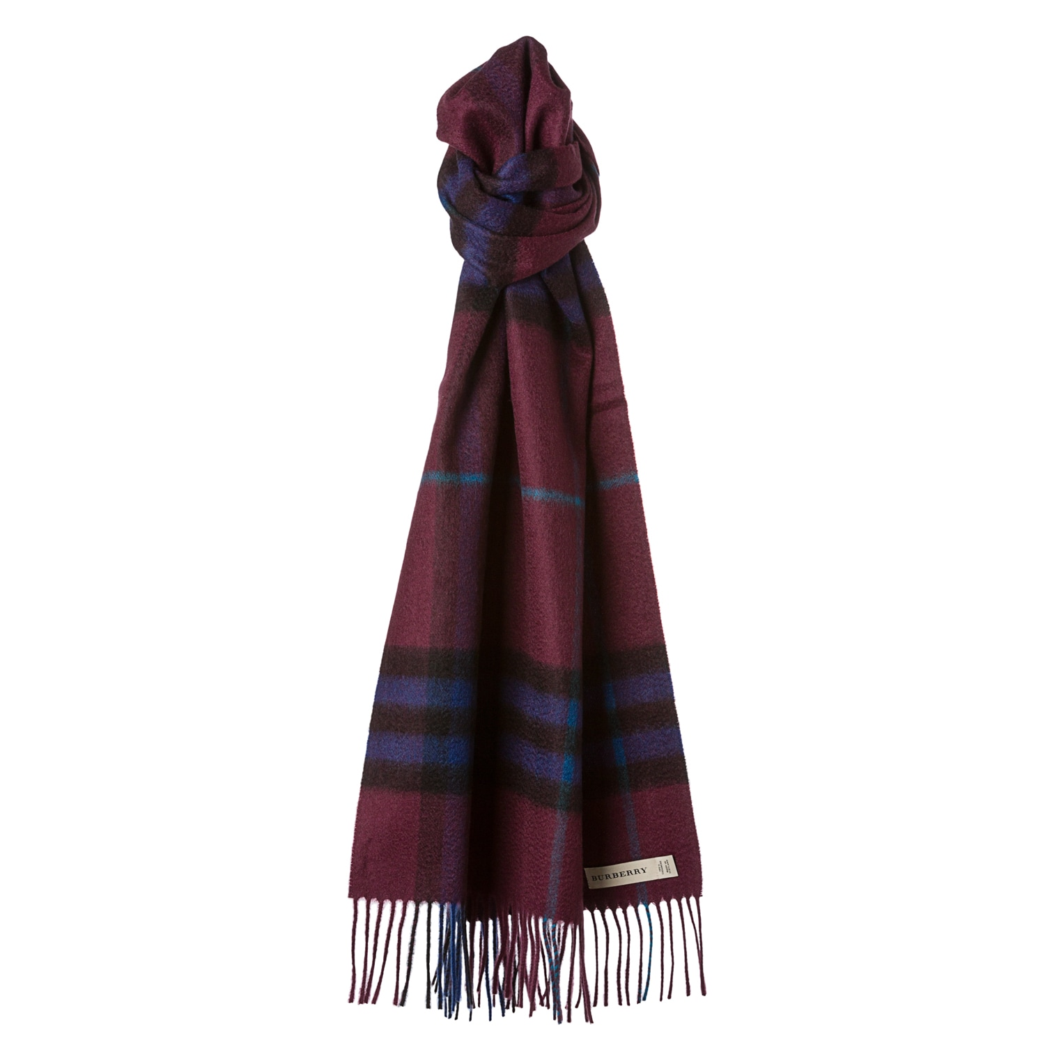 Burberry Burgundy Check Cashmere Scarf  JustCampus Cashmere Burberry Scarf