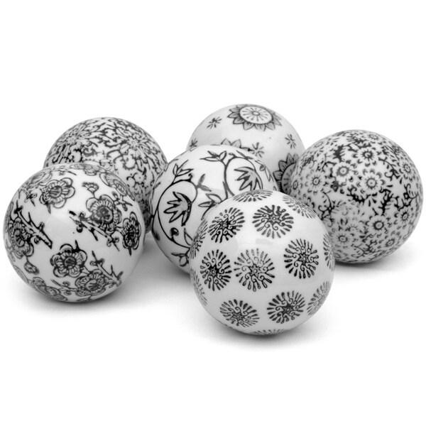 Black Decorative Balls For Bowls: Set Of 6 Black And White Decorative 3-inch Porcelain Ball