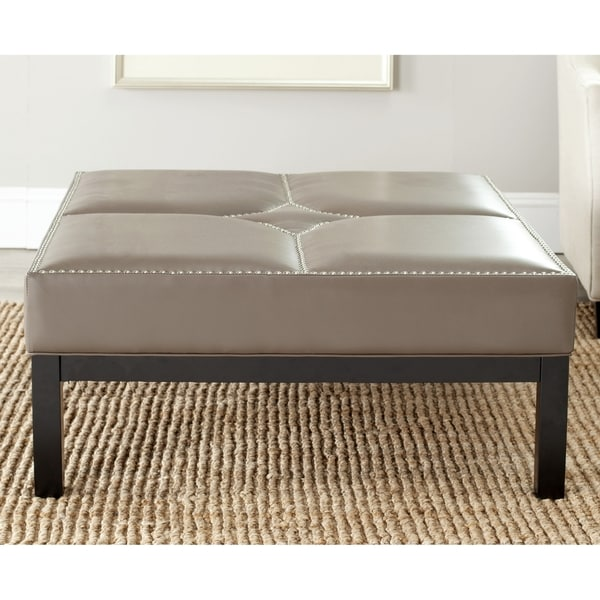 safavieh terrence clay grey leather cocktail ottoman 15052248 shopping great. Black Bedroom Furniture Sets. Home Design Ideas