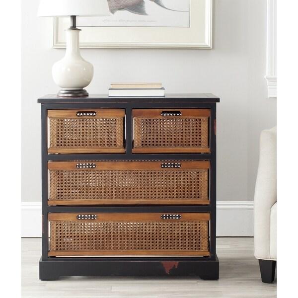 Safavieh Jackson Black 4-drawer Wicker Basket Storage Unit