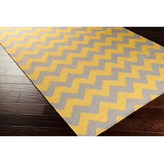 Hand Woven Mustard Chevron Yellow Wool Rug 5 X 8