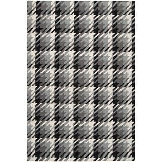 Maxy Home Shag Checkerboard Squares Black Grey Ivory Area