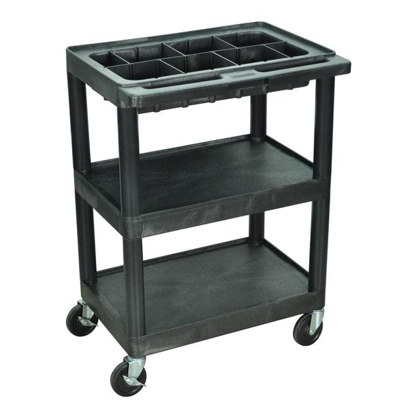 Luxor Small 3 Shelf Utility Black Cart With Top Tub Shelf