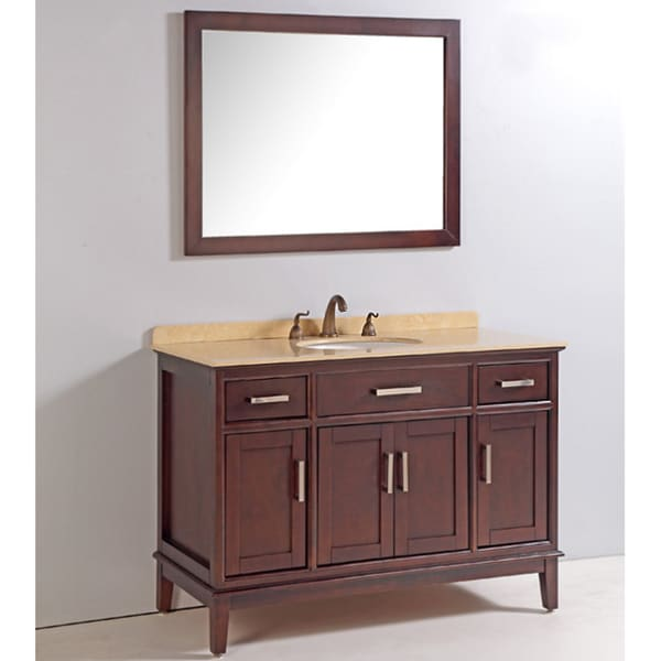 Marble Top 48-inch Single Sink Bathroom Vanity with Mirror ...