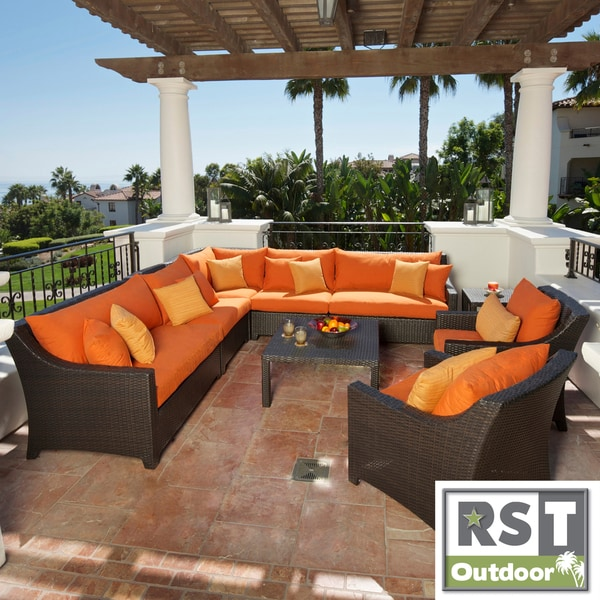 RST Outdoor 'Tikka' 9-Piece Corner Sectional Sofa And Club