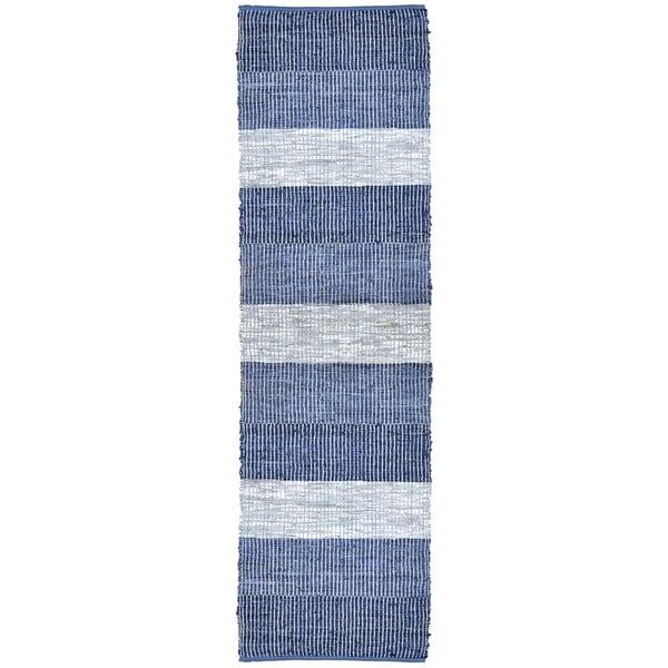 Hand Woven Matador Blue Stripe Leather Rug 2 6 X 12