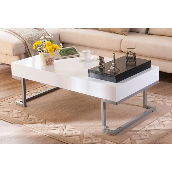 White Coffee Table Tray: Furniture Of America Cassie Coffee Table In Glossy White