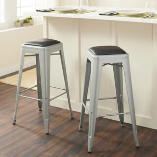 Tabouret 30 Inch Padded Metal Barstools Set Of 2