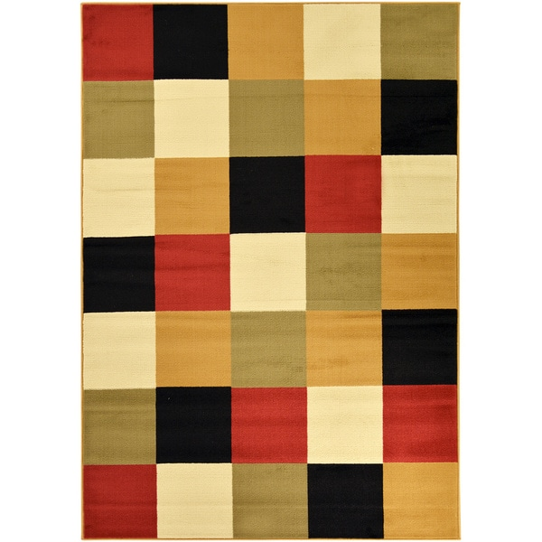 Checked Area Rugs: Paterson Collection Checkered Multi-color Area Rug (5' X 7