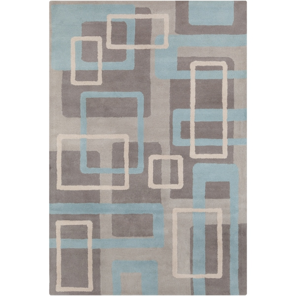 "Allie Handmade Geometric Gray/Blue Wool Rug - 5' x 7'6"""
