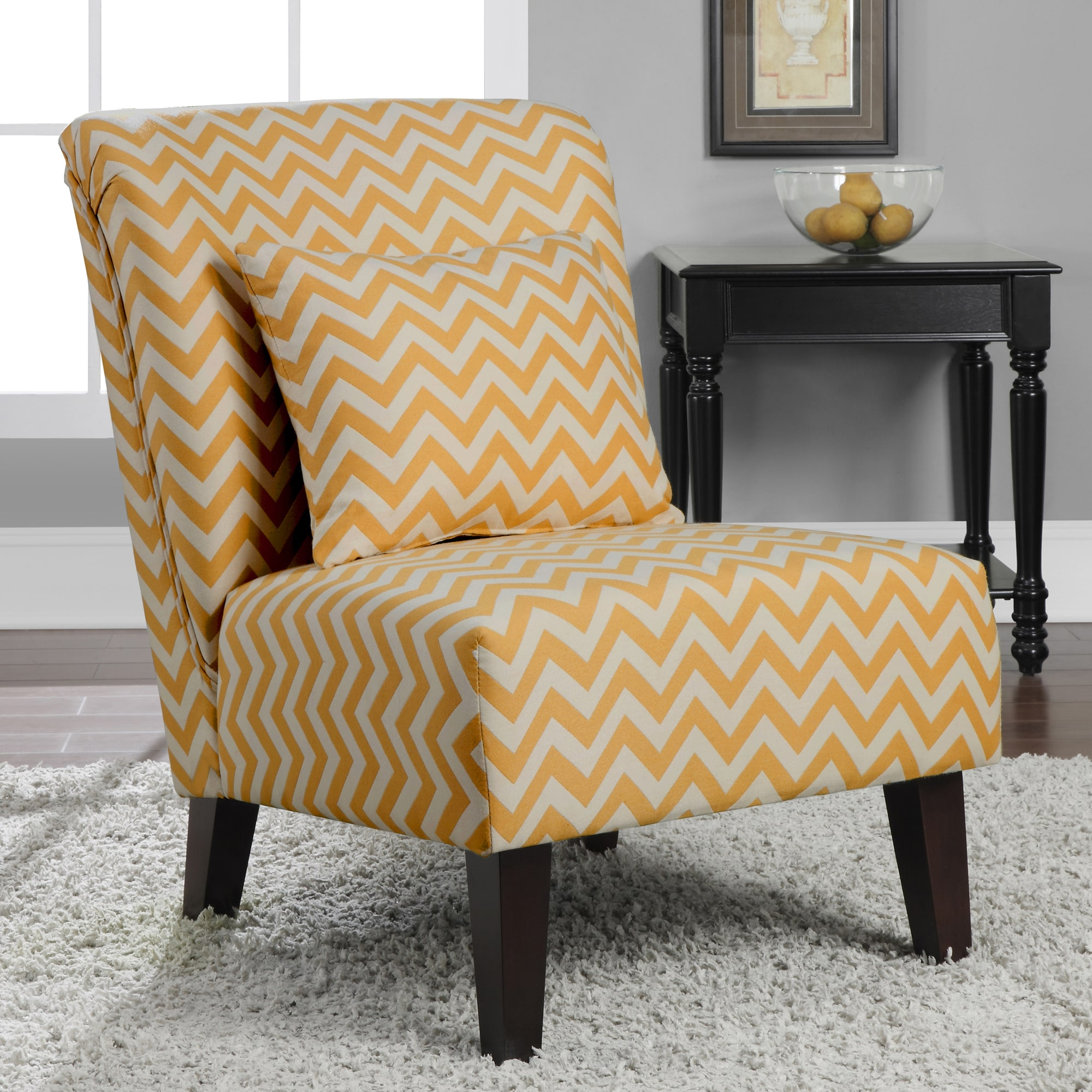 Golden Yellow Accent Chair Living Room: Anna French Yellow Chevron Fabric Accent Chair