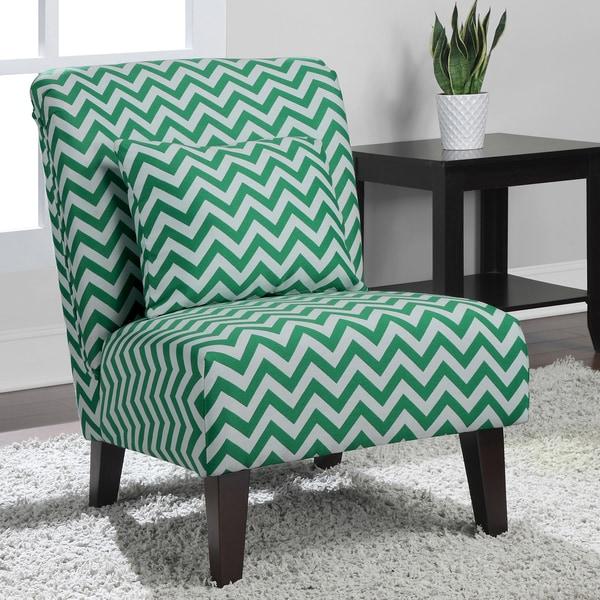 Anna Emerald Chevron Fabric Accent Chair 15084836
