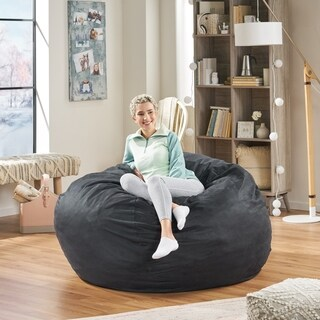 Madison Faux Suede 5-foot Lounge Beanbag Chair by Christopher Knight Home