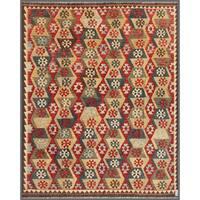 Herat Oriental Afghan Hand-knotted Wool Mimana Kilim  (7'11 x 9'8) - 7'11 x 9'8