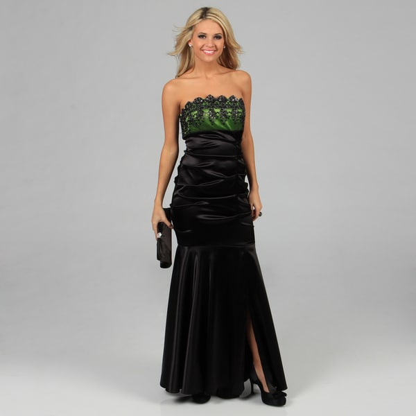 7d802e7d59 Blondie Nites Juniors Black and Green Long Embroidered Strapless Dress  Blondie Nites Juniors  Dresses