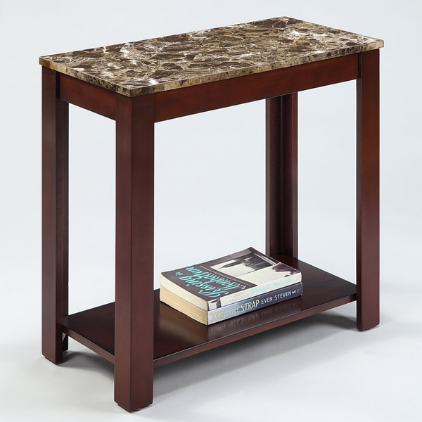 Marble Top Cappuccino Wood Side End Table 15113396