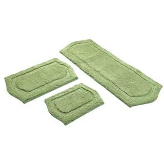 Sage Green Memory Foam 3 Piece Bath Mat Set