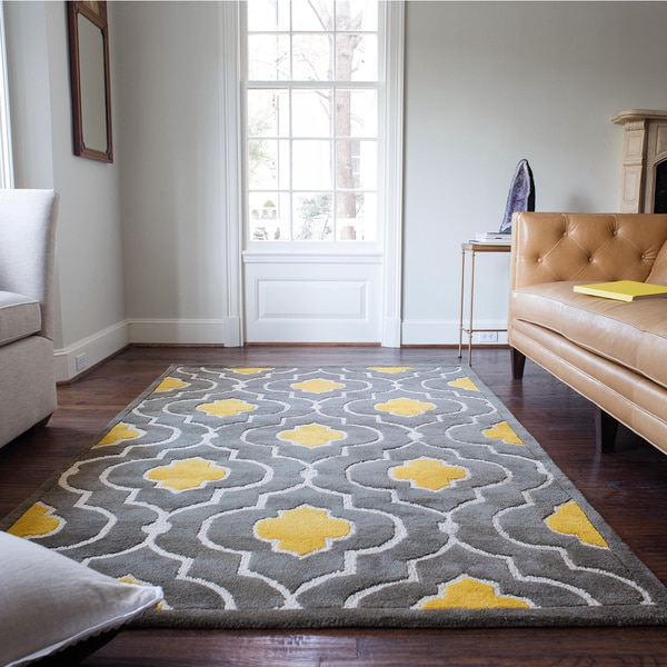 Hand tufted logan grey gold wool rug 7 39 10 x 11 39 0 - Gold rugs for living room ...