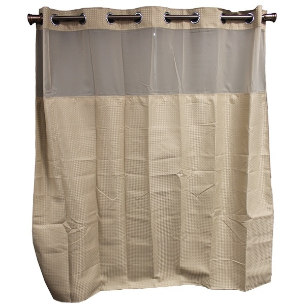 Hookless Taupe Diamond Shower Curtain 15115387