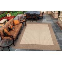 Pergola Quad Cocoa-Black Indoor/Outdoor Area Rug - 5'3 x 7'6