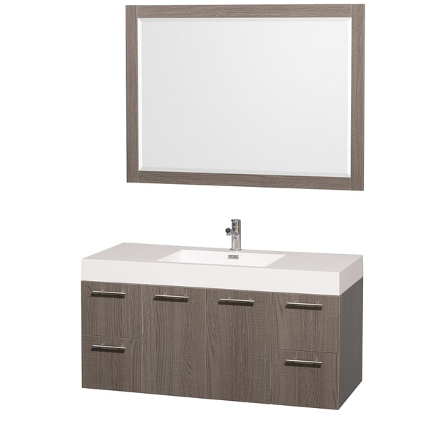 Wyndham Collection Amare 48 Inch Grey Oak White Single