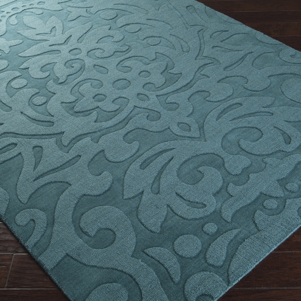 Hand Crafted Westboro Solid Teal Green Damask Wool Rug 5