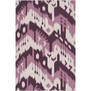 Handwoven Wine Chevron Prune Purple Wool Rug 8 X 11