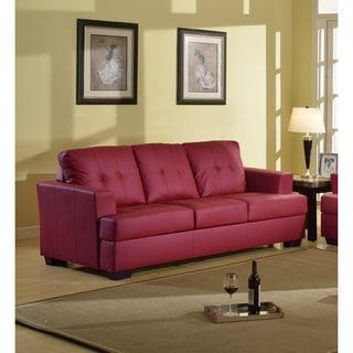 Enjoyable Sale Nova Red Bonded Leather Sofa Qq4Gfdfdg Andrewgaddart Wooden Chair Designs For Living Room Andrewgaddartcom
