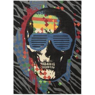 Skinz Design Black Skeleton Rock N Roll Area Rug 5 X 7