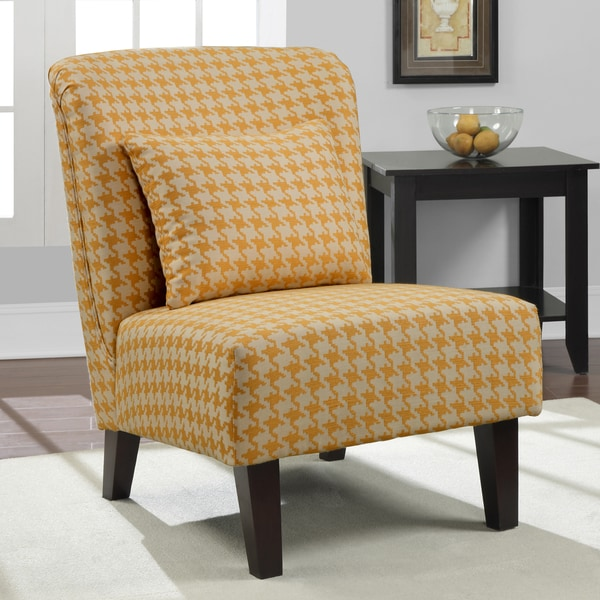 'Anna' Yellow Houndstooth Accent Chair
