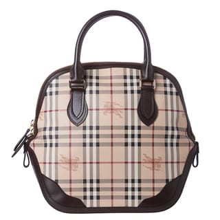 557c8c1a0989 Burberry  Orchard  Medium Haymarket Check Leather Trim Satchel Bag ...