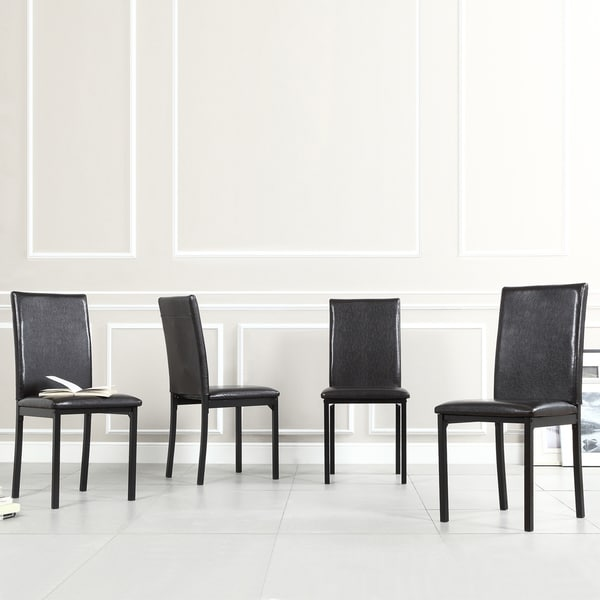 Inspire Q Andorra Velvet And Faux Alligator Leather Dining: INSPIRE Q Darcy Espresso Metal Upholstered Dining Chair