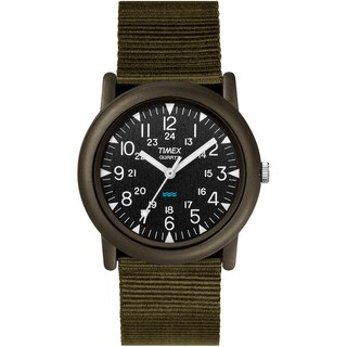 Timex Men's T41711 Expedition Camper Black/Green Fabric Strap Watch - green