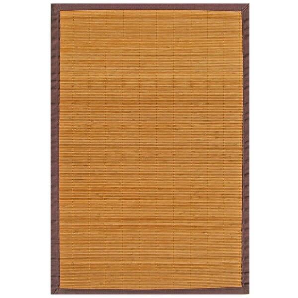 Natural Bamboo Rug With Brown Border 6 X 9 15126394
