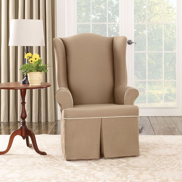 Sure Fit Cocoa Duck Wing Chair Slipcover 15126634 Overstock Com Shopping Big