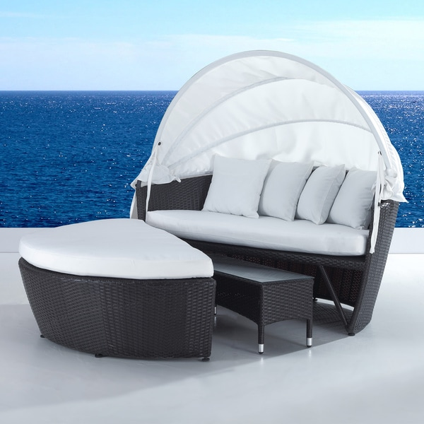 Outdoor Wicker Canopy Loveseat And Convertible Set
