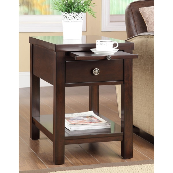 Cappuccino Hardwood Side Table 15128166 Overstock Com