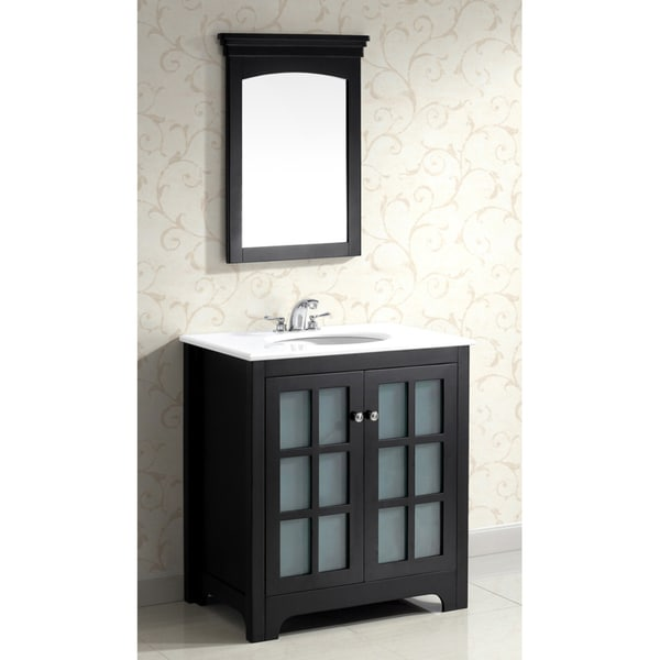 New Doors For Bathroom Vanity: Louisiana Black 30-inch Bath Vanity With 2 Doors And White