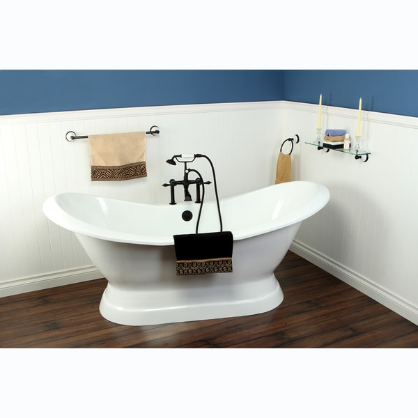 Double Slipper Cast Iron 72-inch Pedestal Bathtub with 7 ...