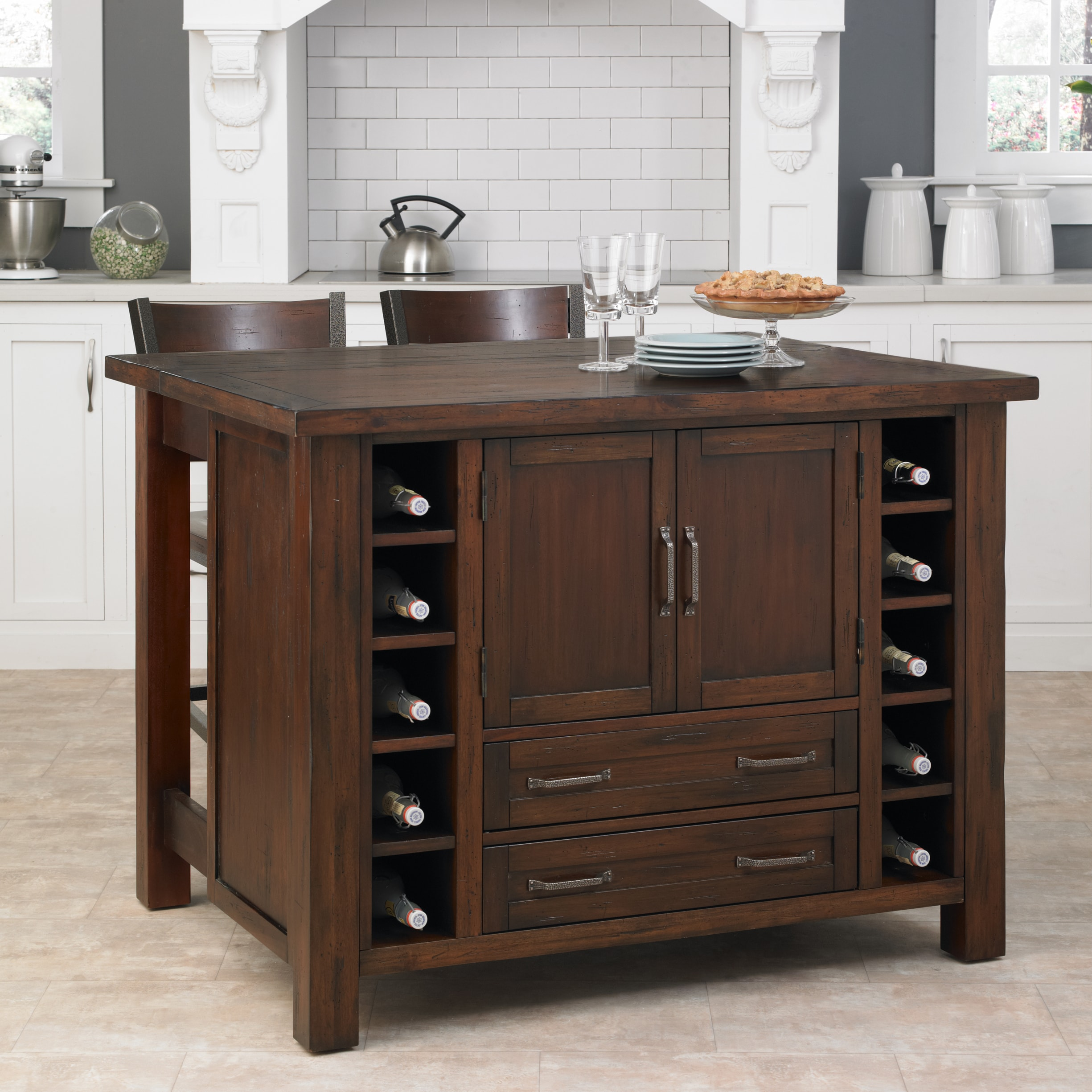Cabin creek kitchen island breakfast bar with two stools - Kitchen island with stools ...