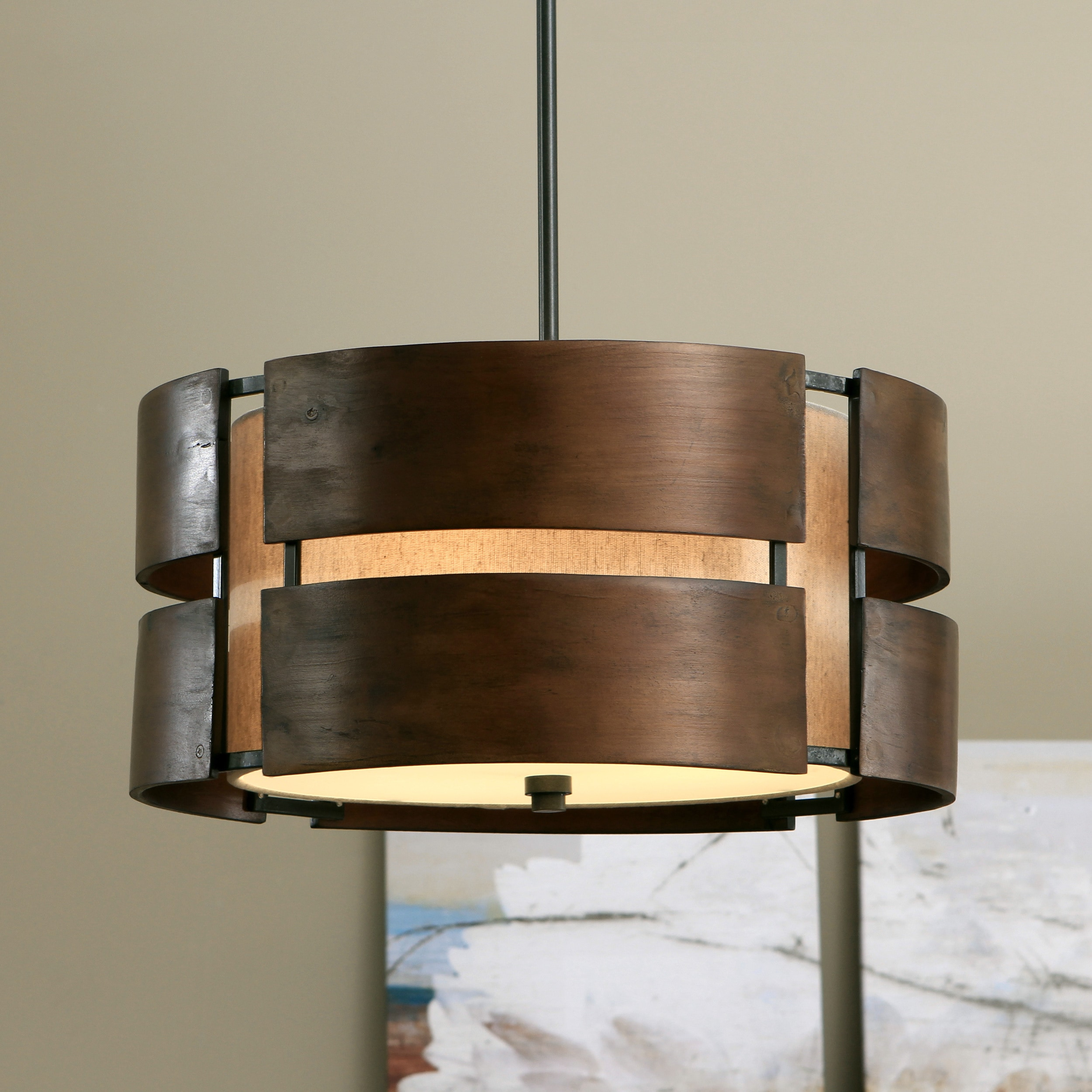 Hanging Light Fixture Curved Walnut Chandelier Modern ...