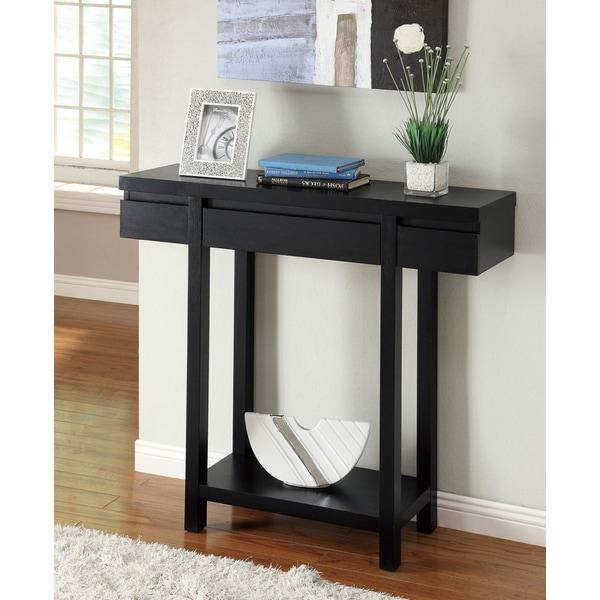 Modern Entryway Storage: Entry Console Table Modern Black Storage Drawer Shelf Wood