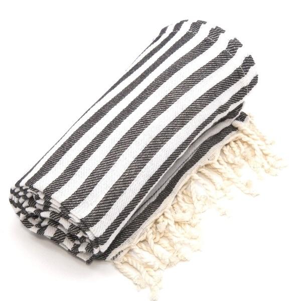 Authentic Pestemal Fouta Charcoal Black Turkish Cotton