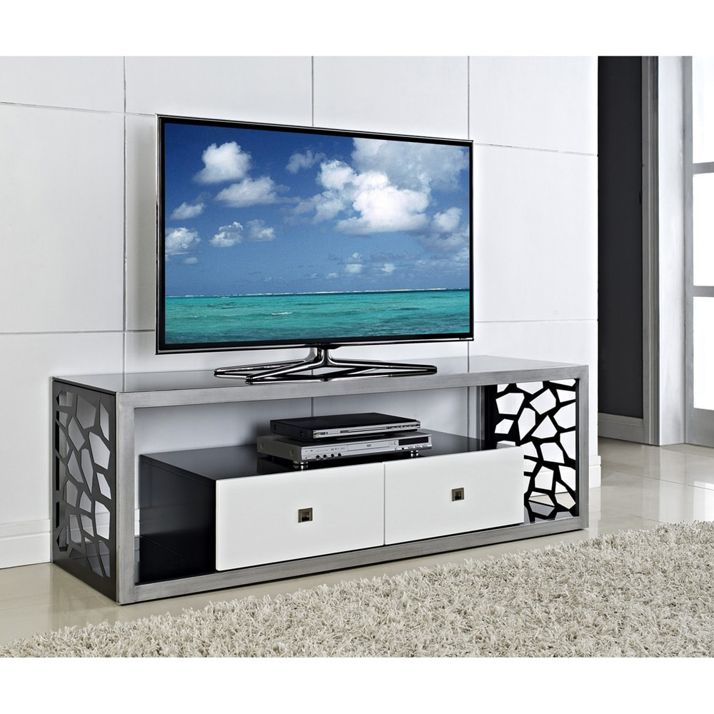 black glass modern mosaic 60 inch tv stand overstock shopping great deals on entertainment. Black Bedroom Furniture Sets. Home Design Ideas