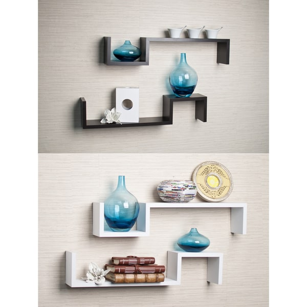 Accent Pieces For Home: Laminated Espresso 'S' Wall Mount Shelves (Set Of 2